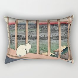 Utagawa Hiroshige Japanese Woodblock Cat Rectangular Pillow