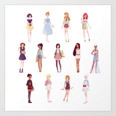 casual princesses - group Art Print
