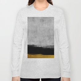 Black and Gold grunge stripes on modern grey concrete abstract backround I - Stripe - Striped Long Sleeve T-shirt