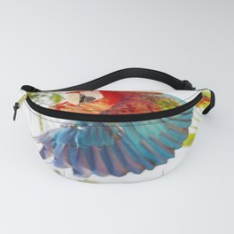 Colorful macaw flying Fanny Pack