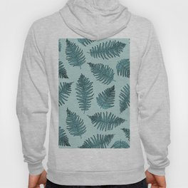 Blue fern garden botanical leaf illustration pattern Hoody