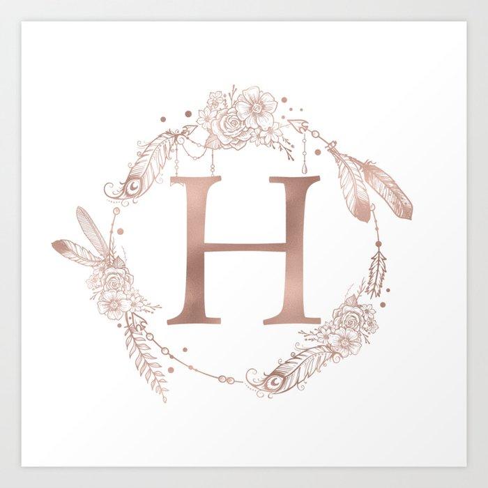 14ee12c0fec35 Letter H Rose Gold Pink Initial Monogram Art Print by naturemagick ...