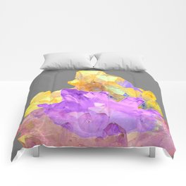 BOHO YELLOW & PURPLE QUARTZ CRYSTALS GREY ART Comforters