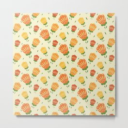 Folk Style Floral Pattern Orange Palette Metal Print