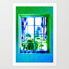 Cool Blue Window Art Print