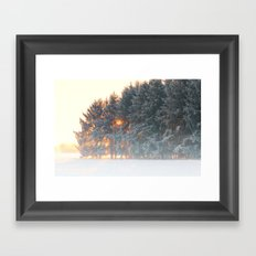 Sunrise in winter cloud forest Framed Art Print