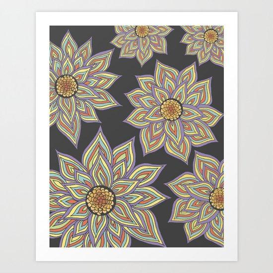 Floral Rhythm In The Dark Art Print