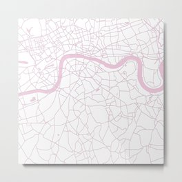London White on Pink Street Map Metal Print