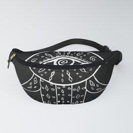Hamsa Hand White on Black #1 #drawing #decor #art #society6 Fanny Pack