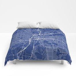 Dayton Map, USA - Blue Comforters