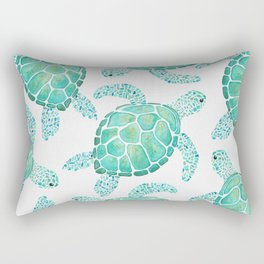 Sea Turtle Pattern - Blue Rectangular Pillow