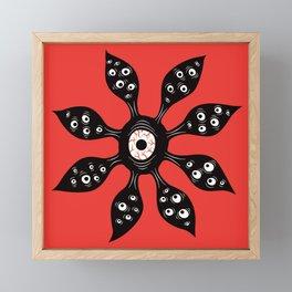 Creepy Witchy Eye Monster On Red Framed Mini Art Print