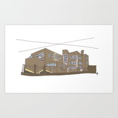 The school, where I park my car. Galway City. Art Print