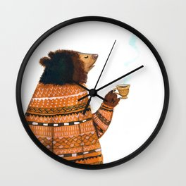 Bear with me, watercolour, illustration Wall Clock