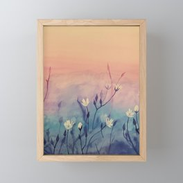 White Flowers at Sunset Framed Mini Art Print