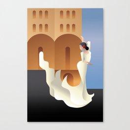 Art Deco Spain Flamenco dancer on sity landscape Canvas Print