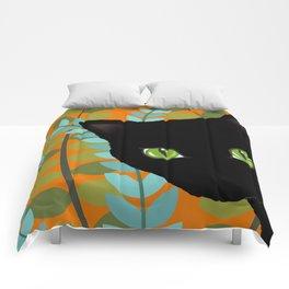Black Kitty Cat In The Garden Comforters