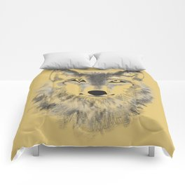 Wolf Face - Gold Comforters