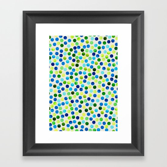 Watercolor Dots_Aqua by Jacqueline and Garima Framed Art Print