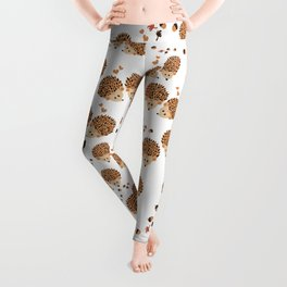 Hedgehogs in autumn Leggings