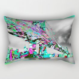 New York City Manhattan Bridge Pure Pop Green Rectangular Pillow
