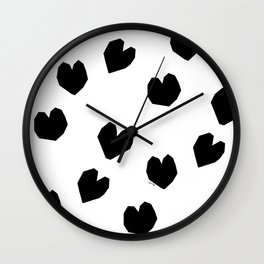 Love Yourself no.2 - black heart pattern love art black and white illustration Wall Clock