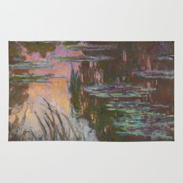 Water Lilies - Setting Sun by Claude Monet Rug