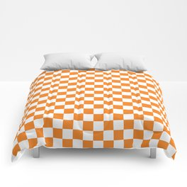 Orange Checkerboard Pattern Comforters