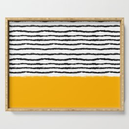 Watercolor Lines Yellow Black Serving Tray