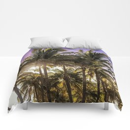 PURPLE AND GOLD SKIES Comforters