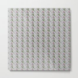 Garden Bloom - grass outlines black - repeating pattern Metal Print