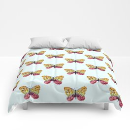 Blue Pressed Flower Butterfly Print Comforters