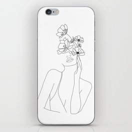 Minimal Line Art Woman with Flowers iPhone Skin