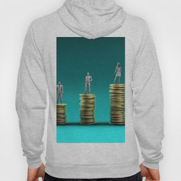 Finance Wealth Increase with Business People Standing on Chart of Gold Coins Hoody