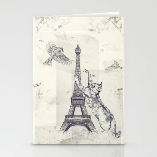 cat attack Stationery Cards