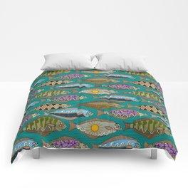 Alaskan halibut teal Comforters