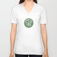 starbucks V-neck T-shirts featuring Starbucks Junkee by Snorting Pixels