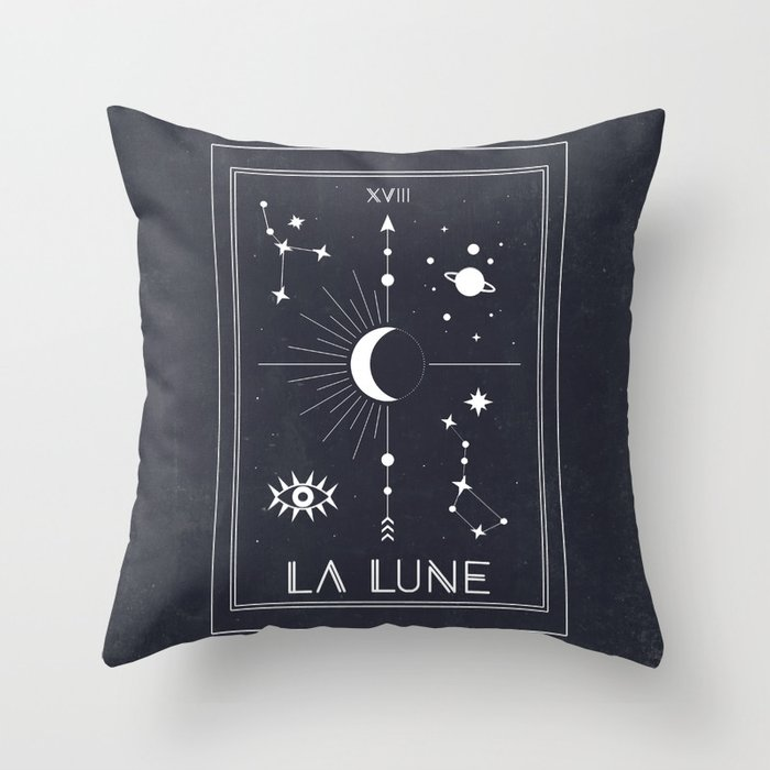 The Moon or La Lune Tarot Throw Pillow