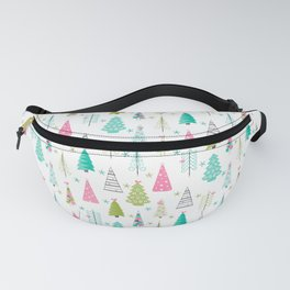 Scandinavian Christmas Trees Pattern - Pink Green Blue Fanny Pack