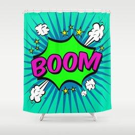 Boom Blue Boom Shower Curtain