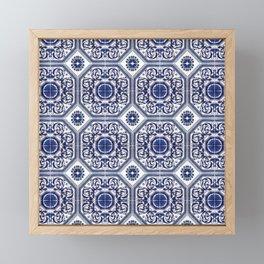 Portuguese Tiles Azulejos Blue and White Pattern Framed Mini Art Print