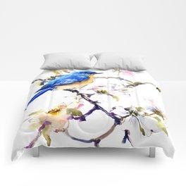 Bluebird and Dogwood, bird and flowers spring colors spring bird songbird design Comforters
