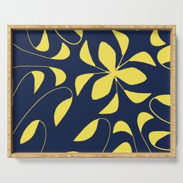Leafy Vines Yellow and Navy Blue Serving Tray