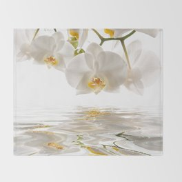 White Orchids Throw Blanket