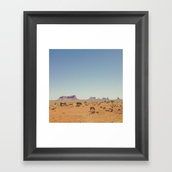 Grazing The Desert Framed Art Print