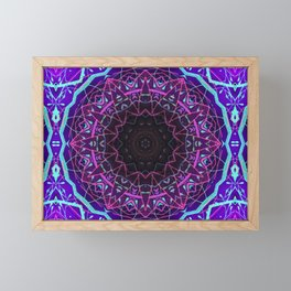 Neon Pink & Blue Mandala Framed Mini Art Print