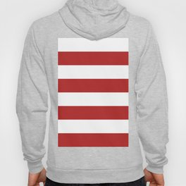 Wide Horizontal Stripes - White and Firebrick Red Hoody