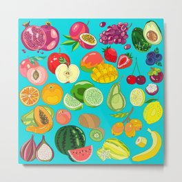 Fruits Paradise in Turquoise Blue Metal Print