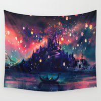 fashion illustration Wall Tapestries featuring The Lights by Alice X. Zhang
