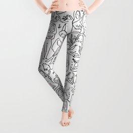 Doodle naked woman Leggings